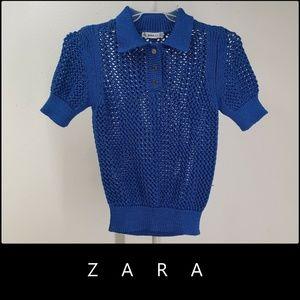 Zara Knit Women Crochet Blouse Sweaters Medium